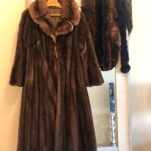 Jackets & Blazers - Vintage brown mink coat with Russian Sable collar